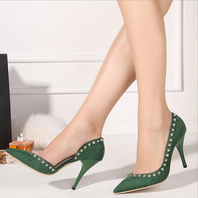2017 Spring New Pumps For Women Side Empty Pointed Fine High-heeled Women Shoes Rivet Black Green Grey High Heels Shoes 40 XP35<br><br>Aliexpress