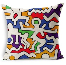 Dancing Dance Body Human Keith Haring Art Hand-Painted Pillows Emoji Euro  Home Decor Pillow Environment Enhance Gift
