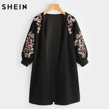 SHEIN Blossom Embroidered Bishop Sleeve Cardigan Autumn Black Collarless Long Sleeve Women Tops Fashion Long Cardigan(China)