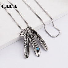 CARA New mens Gothic hip hop punk pendant charm necklace well polished stainless steel 4pcs feather necklace pendant CAGF0220