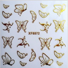 2 PCS Direct manufacturers XF 3D Manicure posted 72 gold nail stickers on nail polish does not fadeXF6001-6031(China)