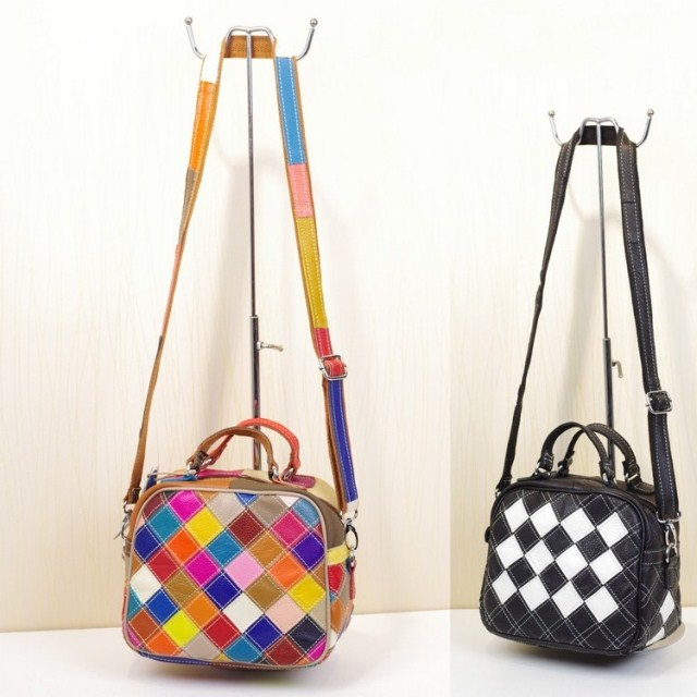 2018 Fashionable multi-color handmade patchwork handbag woman cross-body womens genuine leather small leather bag<br>