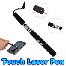 Red Laser Pointer Pen + Capacitive Stylus Touch Screen Pen LED Flashlight for Samsung S2 S3 S4 S5 S6 edge for iphone 5 6 plus