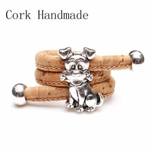 Natural Cork cute dog ring Antique Sliver vintage animal women Ring original adjustable  wooden jewelry HR-023