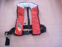 Free shipping New Style Manual and automatic device red color Inflatable life jackets 150N