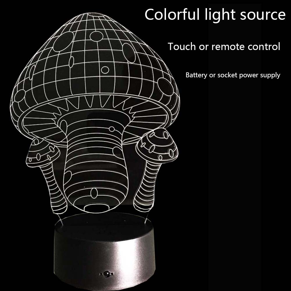 Novelty 3D Mushrooms Night Light Lamp Gadget LED Lighting Home Bedside Nightlight for Child New YearGift(China)
