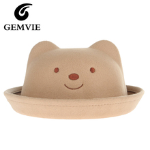Children Cute Wool Fedora Hats Cute Cartoon Bear Embroidery Caps For Kids Girl/Boy Fall/Winter 6 Colors Apparel Accessories Hats(China)