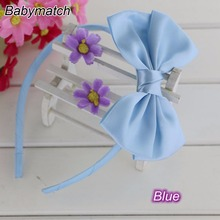 Babymatch 8pcs/lot 4.5'' Stain Ribbon Hair Bows Covered Baby Girls hair band Kids Infant Headbands Children Bow Accessories