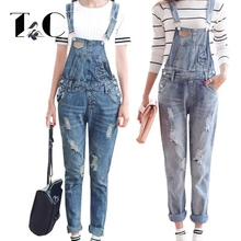 TC Womens Jumpsuit Denim Overalls 2017 Spring Autumn Casual Ripped Hole Loose Pants Ripped Pockets Jeans Coverall Women