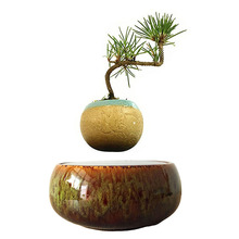 2017 japan magnetic levitation Floating Bonsai Ceramic Pots Bonsai Plant Novelty Gifts for Men free shipping (no plant)(China)