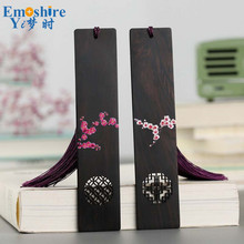 Creative Ebony Wooden Plum Bookmarks and Calligraphy Chinese Style Bookmarks Gift Customized Bookmarks Lettering M088(China)