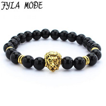 Fyla Mode Natural Stone Black Stone Beaded Red Lava Beads Bracelet Men Lion Head Charm Bracelet Energy Yoga Mala Bracelet SZT014