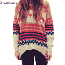 XINGUANGYA 2017 New Christmas Sweater Women Deer Snow Pull Femme Pullover Feminino Knitwear Ladies Jumper Autumn Winter Clothes