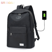 Free Shipping Hot Style Versatile Casual  Man Male Nylon School Backpack for Youth (USB Charge Interface)