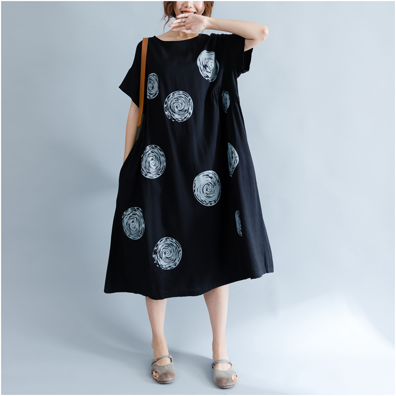 DIMANAF Women Summer Dress Big Size Cotton Linen Casual Soft Style Black Polka Dot Oversized Loose Female Sundress Clothing 2018 14