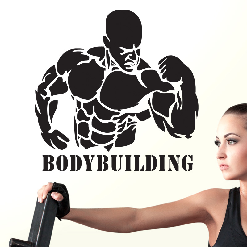 Gym Sticker Fitness Decal Body-building Posters Vinyl Wall Decals Pegatina Quadro Parede Decor Mural Gym Sticker JSL028