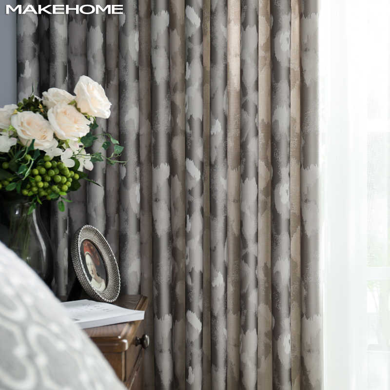MAKEHOME Luxury Large Spot Jacquard Blackout Curtains for Living room Top Grade Elegant Window Bedroom Modern Curtian Custom