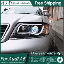 AKD Car Styling for Audi A6 Headlight LED Headlight ANGEL EYE LOW BEAM high beam DRL Bi-Xenon Lens HID(China)