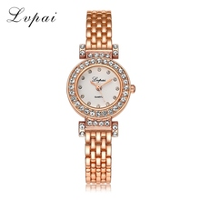 2017 Lvpai Brand Fashion Bracelet Watch Women Gold Simulated Diamond Alloy WristWatches Women Fashion Luxury Watch Quartz Clock