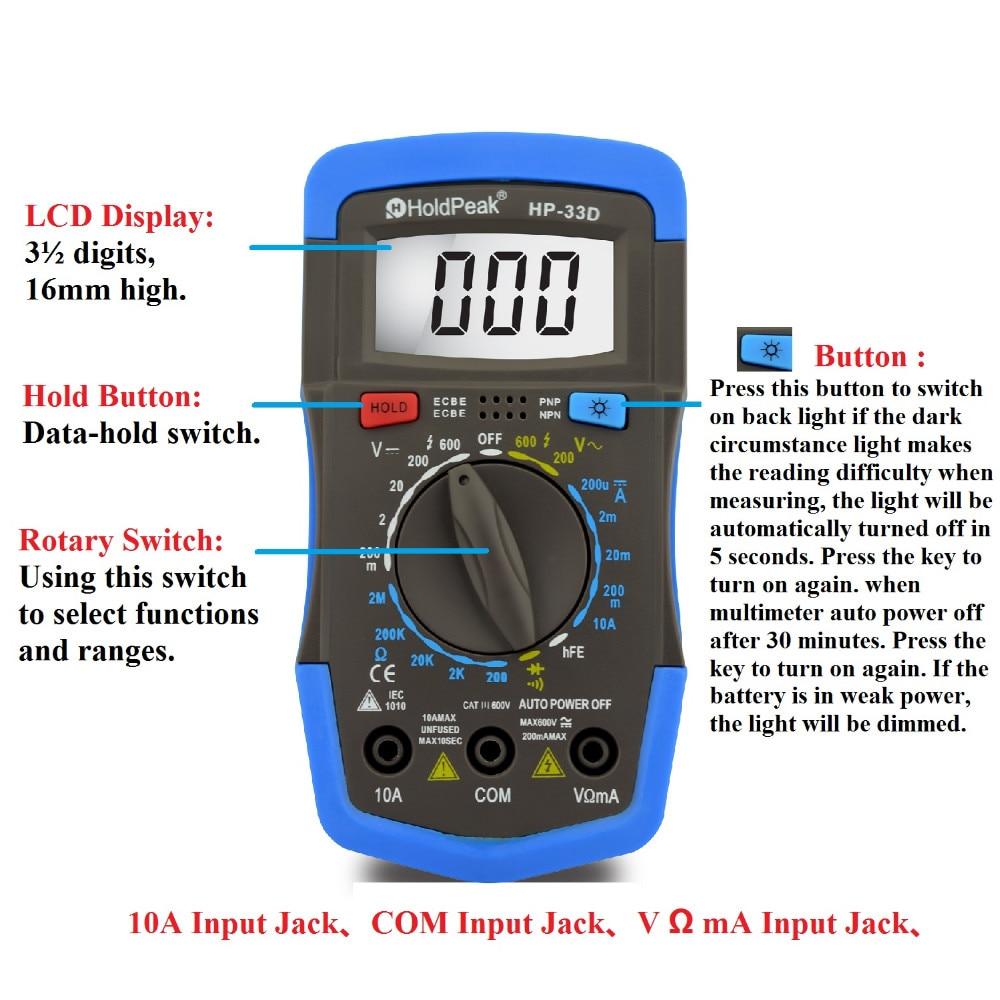 Mini Multimeter Multimetro HoldPeak HP-33D Digital Multimeter Ammeter Voltmeter Ohmmeter hFE Current Tester and LCD Backlight<br><br>Aliexpress