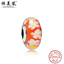 HOMHUL Original 925 Sterling Silver Glass Beads Orange Charm With White Petal fit Bracelet&Bangle&Leather Bracelet GRL05