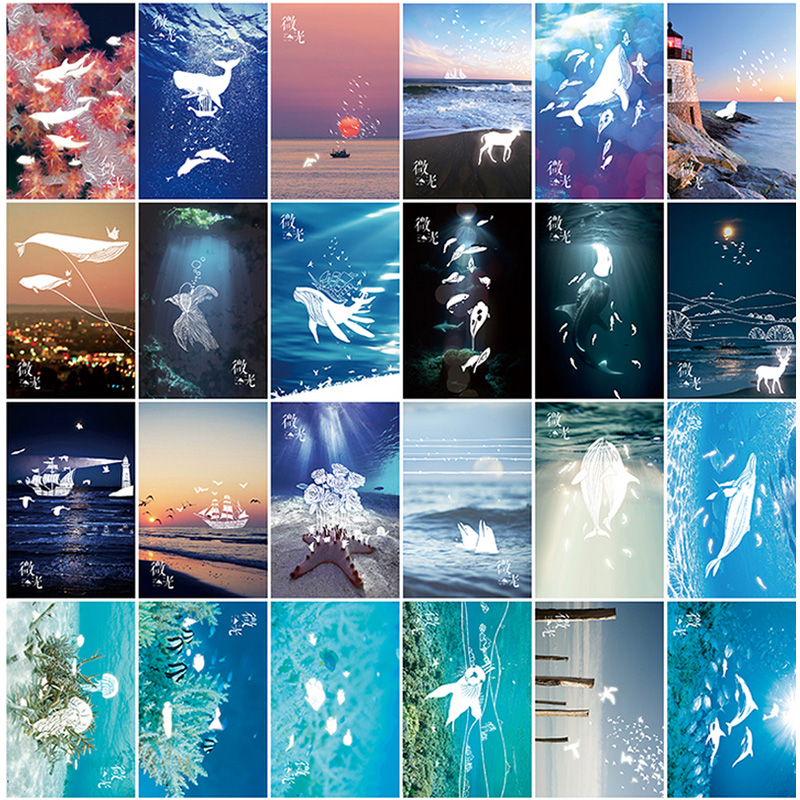 30 pcs/lot Vintage Luminous card Marine animals postcard landscape greeting card christmas card  message gift <br><br>Aliexpress