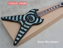 Free Shipping-Electric Guitar with Flying V shape,Zakk Style,Black Hardware,String-thru-body Design,can be Customized