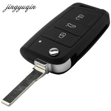 jingyuqin Flip Folding Key Fob Shell For VW Golf 7 GTI MK7 Skoda Octavia A7 Seat Remote Auto parts Keyless Case(China)