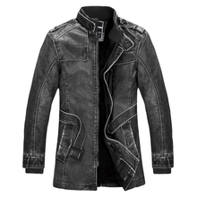 Standing Collar High Quality Leather Jacket For Men Slim Warm Mens Washed Leather Motorcycle Biker Jackets(China)
