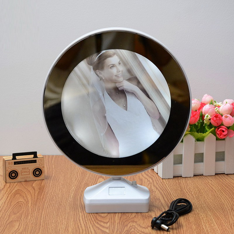 Creative Magic 7 Inch Multi function LED Light Photo Frame With Mirror Wedding Picture Frame Art Home Decor S2017395(China)