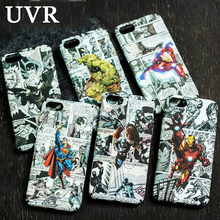 UVR Superman Ironman Spider Man Comics Hero Luminous Case Cover for iPhone 5 5S 6 6S Plus 7 Plus 3D Relief Water Decals Coque(China)