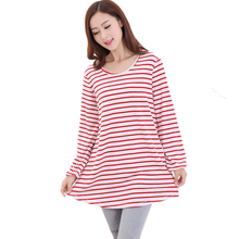 Long sleeved Cotton Striped Maternity T shirts Pregnant Shirt Casual Pregnancy Clothes for Pregnant Women Maternity Blouse(China)