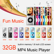 New 8GB 32GB Memory Slim MP3 MP4 Music Player 1.8 inch LCD Screen FM Radio + Voice Recorder Function with Charger Cable