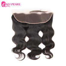 AliPearl Hair Brazilian Body Wave Lace Frontal Closure 13X4 with Baby Hair Human Hair Free Part Color 1b Remy Hair Free Shipping