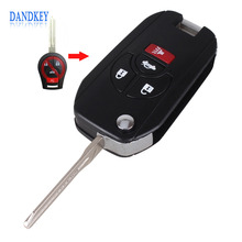 Dandkey New 4 Buttons Uncut Blank Remote Flip Folding Key Shell Case Fob for Nissan Altima Maxima Sentra Versa