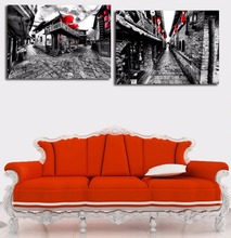 Unframed Villages with Red Lantern Canvas Poster Traditional Alley Photo Chinese Ink Painting Home Living Room Wall Art Murals(China)