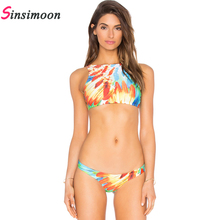 New Women Printed Bikini Set Retro Vintage Bikini Floral Print Bathing Suit Orange Swimsuit Sexy Swimwear Mini Beachwear Tankini(China)