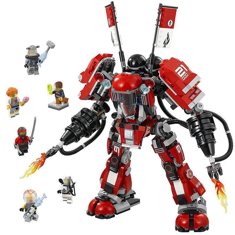 1010pcs Diy Ninjago Fire Mech Battle Huge Robots Model Blocks Children Assemble Toys Bricks Compatible With Legoingly Brinquedos<br>