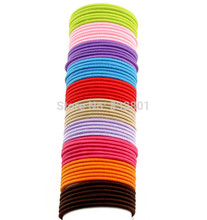 Aikelina Free Shipping100pcs/lot 50mm Thin Candy Colored Child Hair Holders Rubber Bands Black Elastics Girl Women Tie Gum