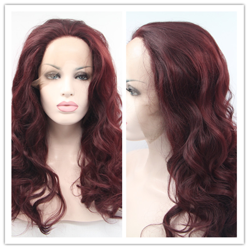 2017 Hot Sale Heat Resistant Synthetic Lace Front Wigs Loose Wave Wine Red Gluless Lace Frontal Celebrity Wig for Black Woman<br><br>Aliexpress