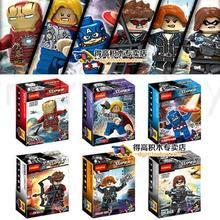 6pcs Avengers Iron Man Thor Hawkeye Black Widow Winter Soldie Captain Marvel Building Block Figure Lepin Compatible With Lego