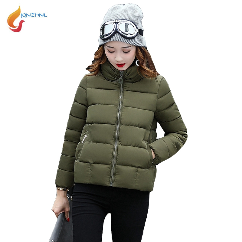 JQNZHNL 2017 New Winter Women Thicken Cotton Coats Outerwear Solid Color Female Stand Collar Casual Short Down Cotton Coats L360Îäåæäà è àêñåññóàðû<br><br>