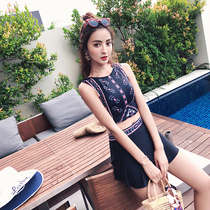 2018 Bikinis Women Swimwear High Waist Swimsuit Dress Sexy Swimwear Push Up Crop High Neck Bikini Set Retro Bathing Suit Swim<br>