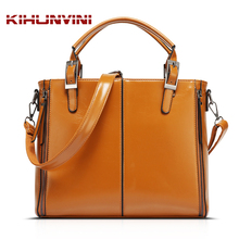 Waxed Leather Handbag Women Vintage Bag Joint Box Bolsa Feminina High End Luxury Handbags Famous Designer Female Purse Mochila(China)