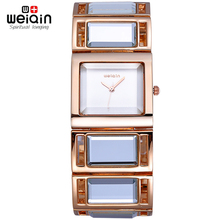 WEIQIN Mirror Band Rose Gold Bangle Watch Women Analog Quartz-watch Fashion Watches 2016 montre bracelet femme relogio feminino(China)