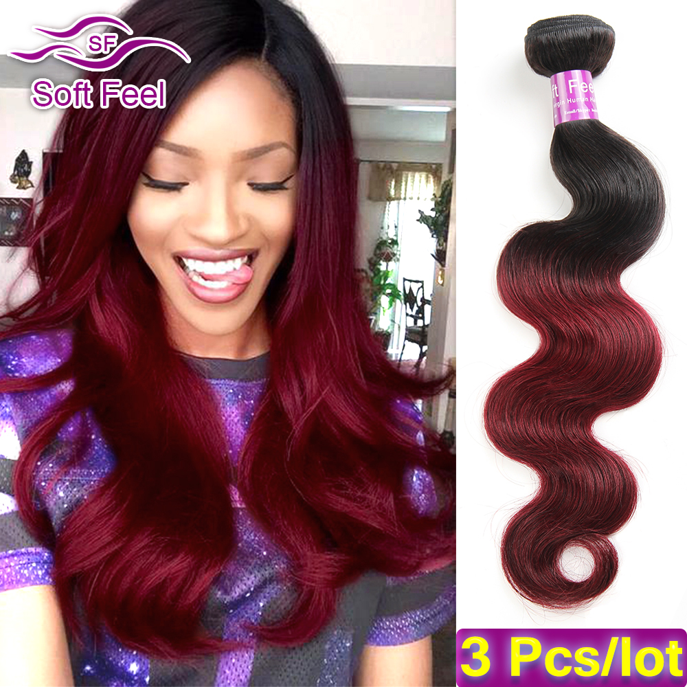 2 Tone Ombre Brazilian Virgin Hair Body Wave 3 Bundles Red 99J Burgundy Brazilian Hair Weave Bundles Ombre Human Hair Extensions<br><br>Aliexpress