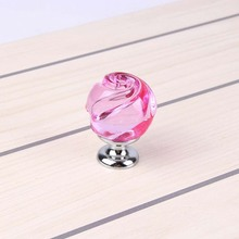 Modern Pink Crystal Door Knobs Home Furniture Decoration Accessories, Kitchen Cabinet Hardware Handle With 25mm Screw