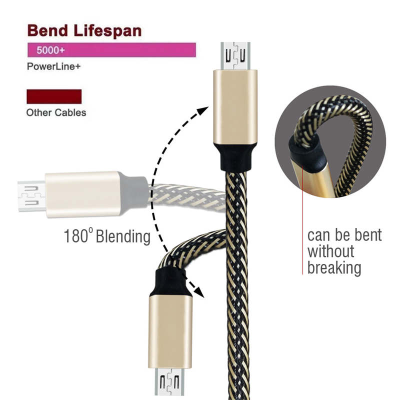 Micro USB Braided Fast Charging Cable 28cm