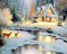 Новый мозаика полный положил алмаз живопись вышивка снежный пейзаж реки рождественский олень дерево коттедж бусины вышивки крестом компле...(China)