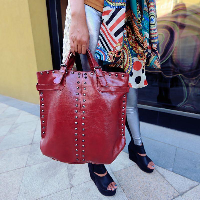 New Elegant Retro Rivets Women PU leather Fashion Handbag\Bag, ladies shoulder bag\messenger bag~big capacity 13B5<br><br>Aliexpress
